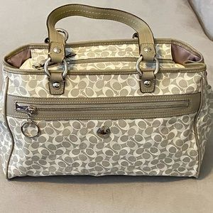 Gray and white leather signature Coach bag